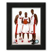 Art.com Dwyane Wade, LeBron James, and Chris Bosh 2010 Posed Framed Art Print