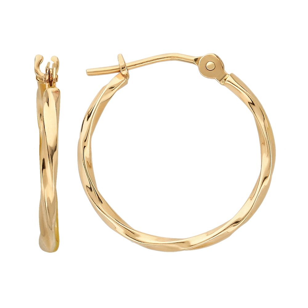 Everlasting Gold 10k Gold Twist Hoop Earrings