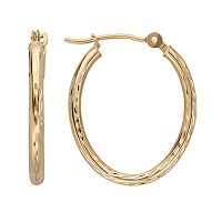 Everlasting Gold 10k Gold Textured Oval Hoop Earrings