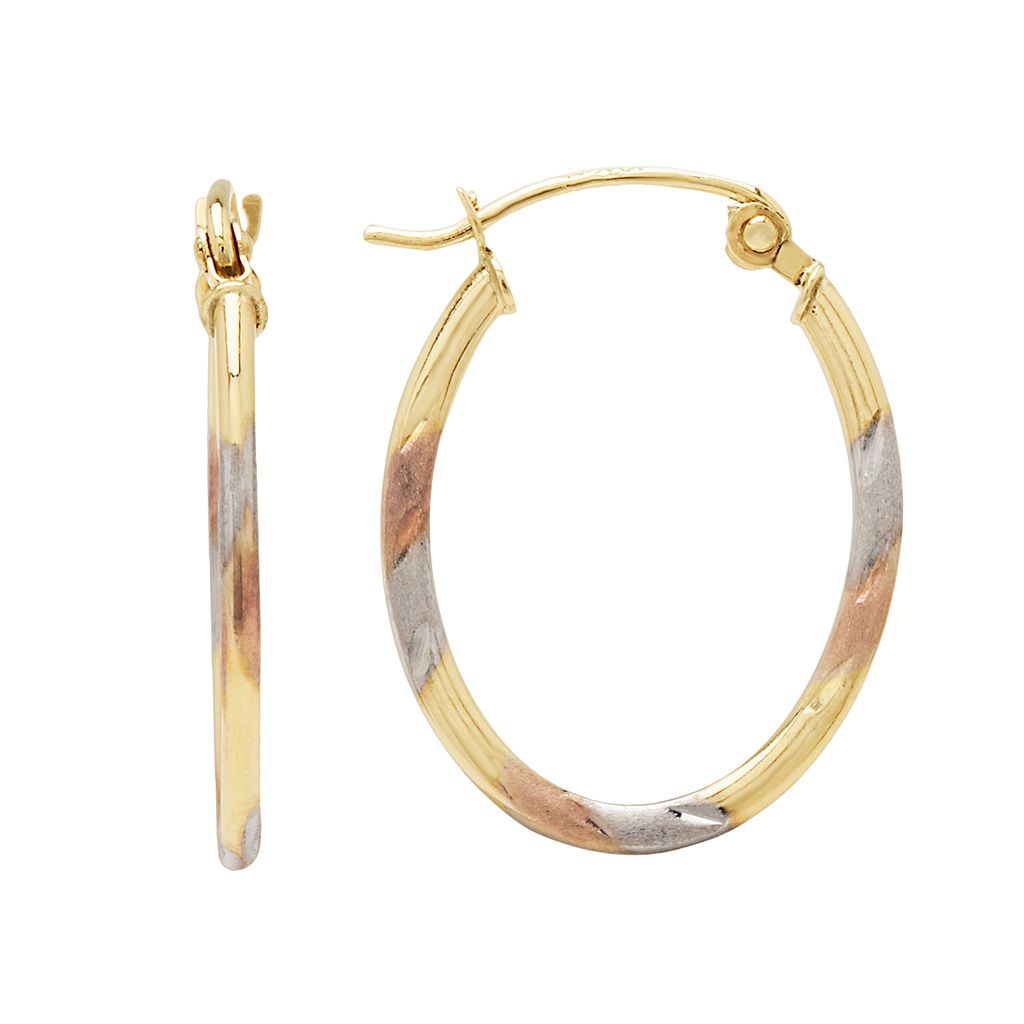 Everlasting Gold 10k Gold & Rhodium Plate Tri-Tone Striped Oval Hoop Earrings