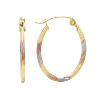 Everlasting Gold 10k Gold and Rhodium Plate Tri-Tone Striped Oval Hoop Earrings
