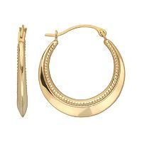 Everlasting Gold 10k Gold Beaded Hoop Earrings