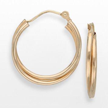 Everlasting Gold 10k Gold Crisscross Hoop Earrings