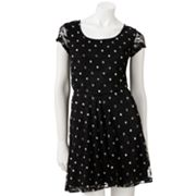 Ultra Flirt Lace Polka-Dot Dress - Juniors