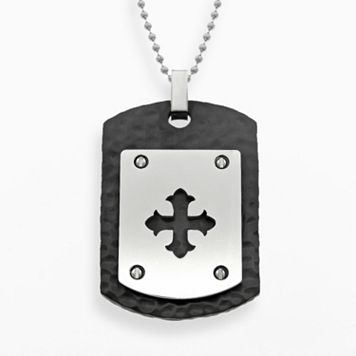 LYNX Stainless Steel Black Ion Cross Dog Tag - Men