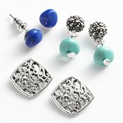 Croft and Barrow Silver Tone Bead Stud and Drop Earring Set