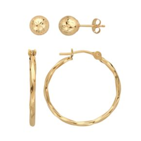 Everlasting Gold 10k Gold Textured Ball Stud and Twist Hoop Earring Set