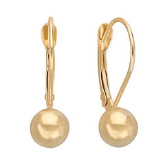 Everlasting Gold 10k Gold Ball Drop Earrings