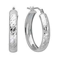 Everlasting Gold 10k White Gold Textured Stripe Hoop Earrings