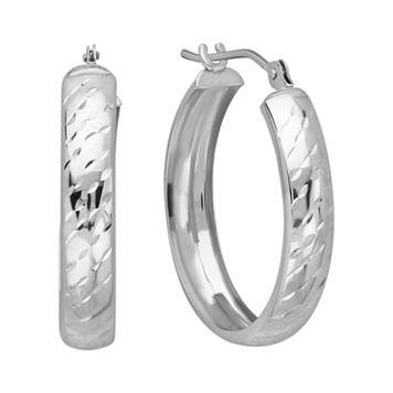 Everlasting Gold 10k White Gold Textured Stripe Hoop Earrings