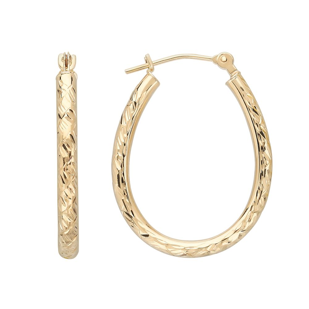 Everlasting Gold 10k Gold Textured Pear Hoop Earrings