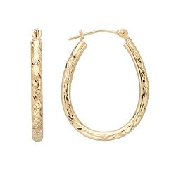 Everlasting Gold 10k Gold Textured Pear Hoop Earrings
