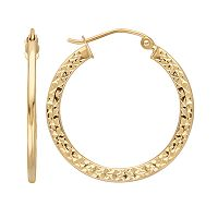 Everlasting Gold 10k Gold Textured Hoop Earrings