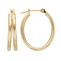 Everlasting Gold 10k Gold Oval Hoop Earrings