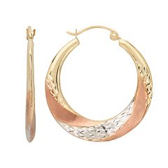 Everlasting Gold 10k Gold Tri-Tone Textured Swirl Hoop Earrings