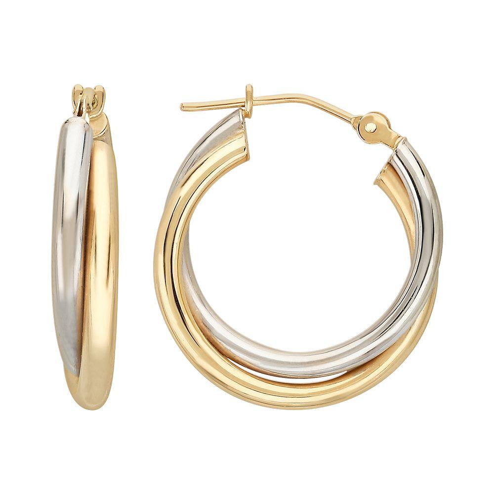 Everlasting Gold 10k Gold Two Tone Crisscross Hoop Earrings