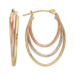 Everlasting Gold 10k Gold Tri-Tone Textured Oval Hoop Earrings