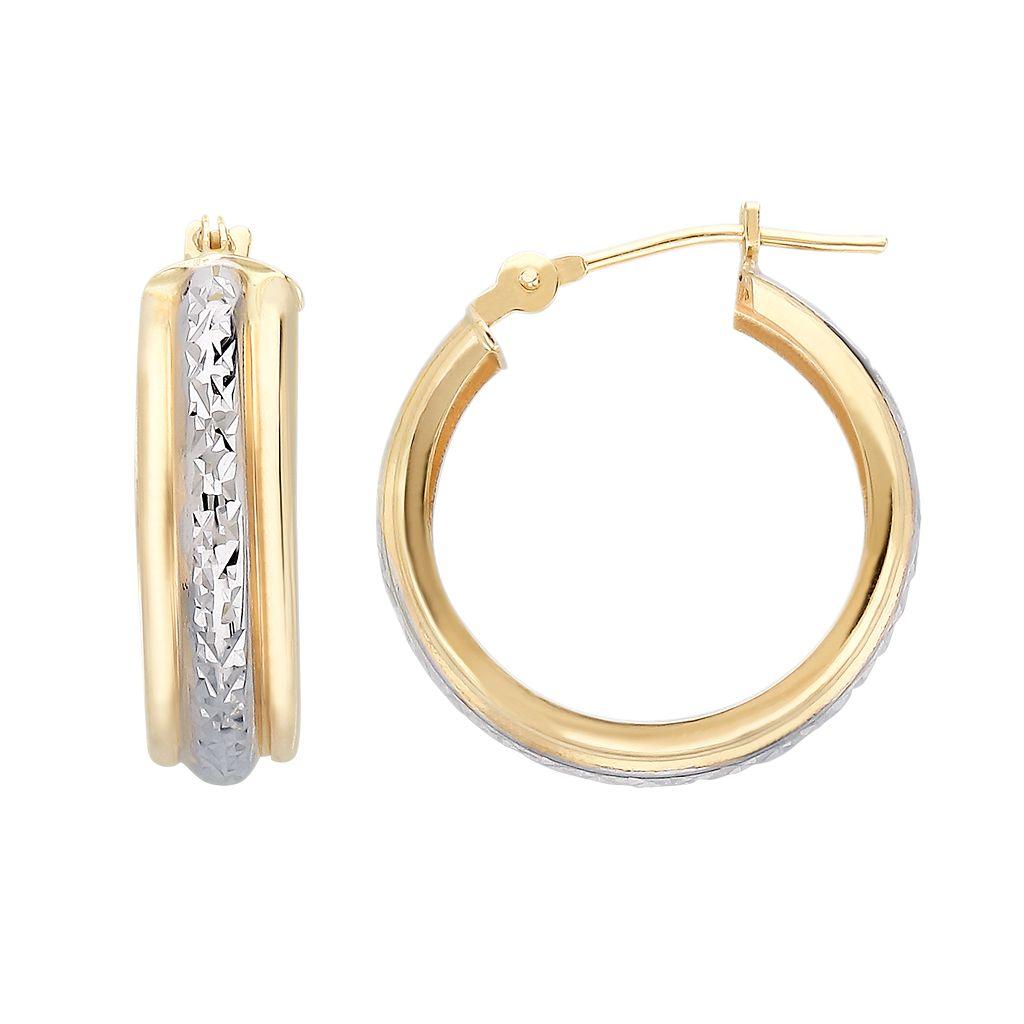 Everlasting Gold 10k Gold Two Tone Textured Hoop Earrings