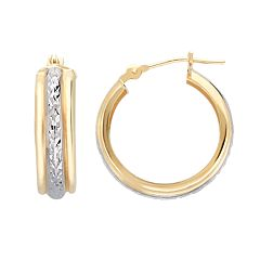 Everlasting Gold 10k Gold Two Tone Textured Hoop Earrings
