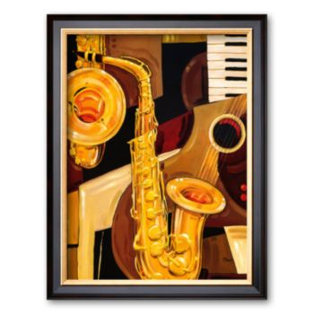 Art.com Abstract Sax Framed Art Print by Paul Brent