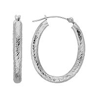 Everlasting Gold 10k White Gold Textured Oval Hoop Earrings