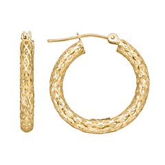 Everlasting Gold 10k Gold Openwork Hoop Earrings