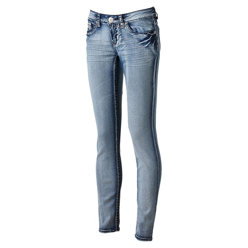 Hydraulic Skinny Rhinestone Jeans - Juniors (Blue)