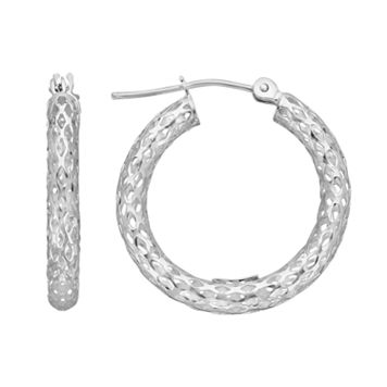 Everlasting Gold 10k White Gold Openwork Hoop Earrings