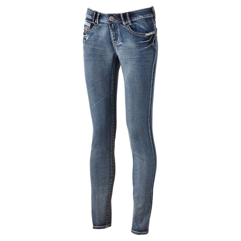 Hydraulic Rhinestone Skinny Ankle Jeans - Juniors (Blue)