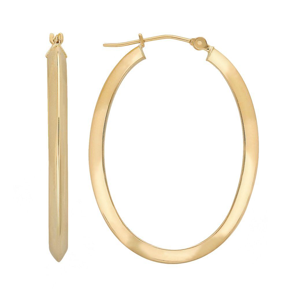 Everlasting Gold 10k Gold Oval Hoop Earrings