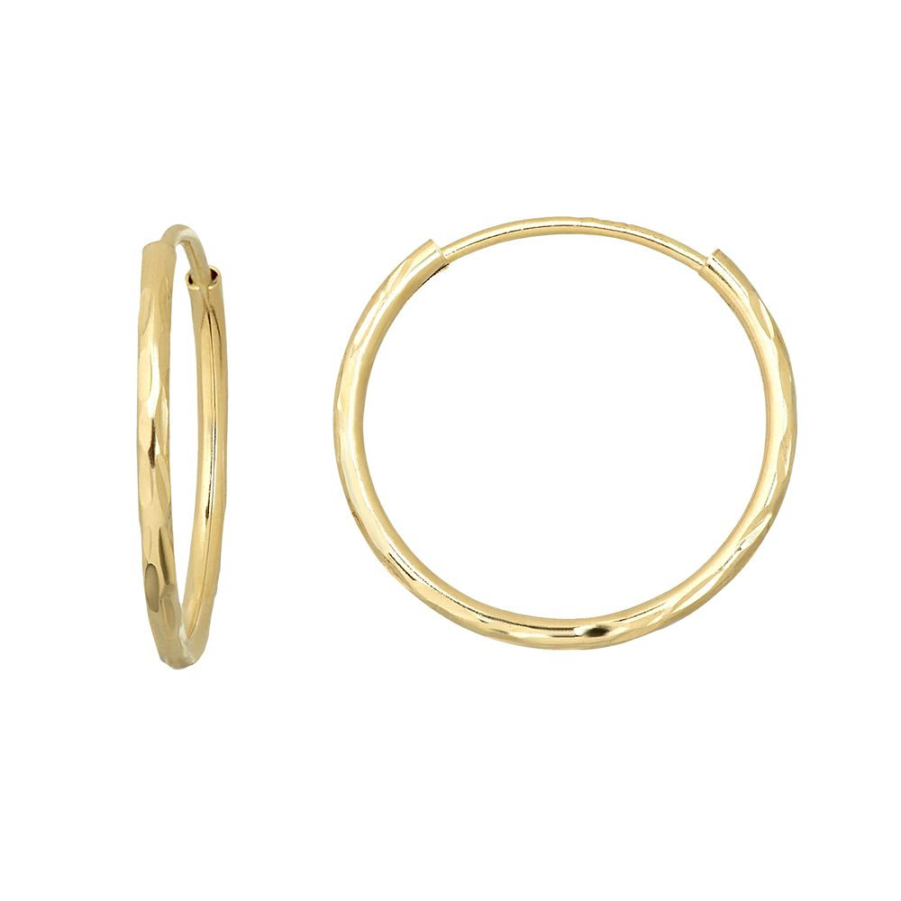 Everlasting Gold 10k Gold Textured Endless Hoop Earrings