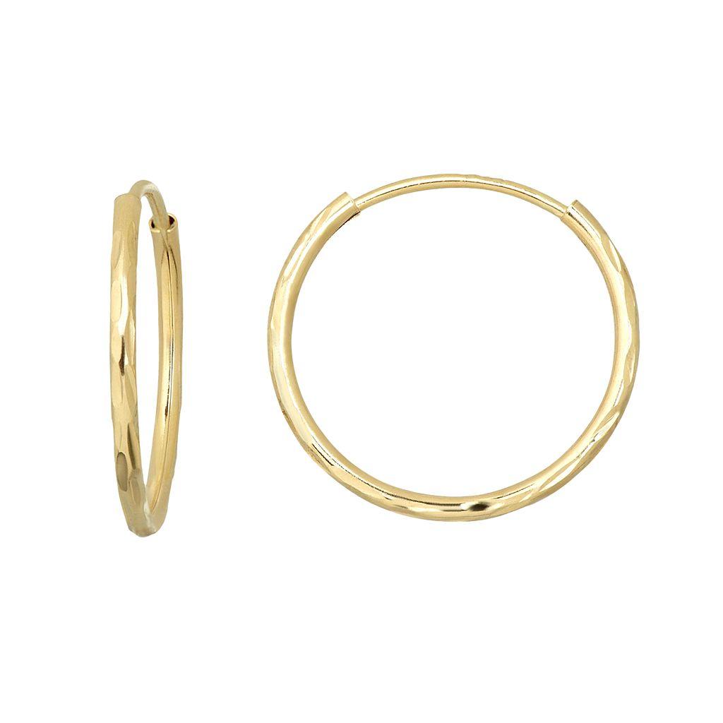 Everlasting Gold 10k Gold Textured Endless Hoop Earrings