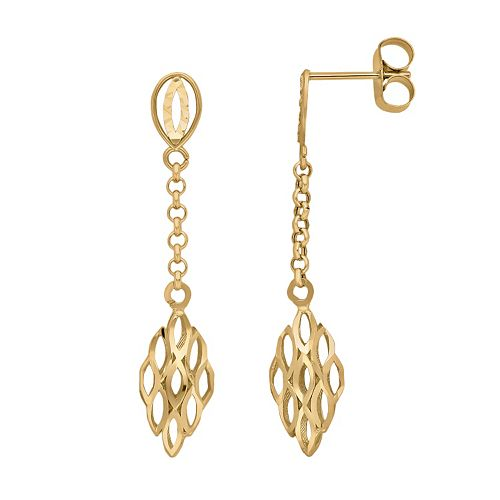 Everlasting Gold 10k Gold Openwork Marquise Linear Drop Earrings