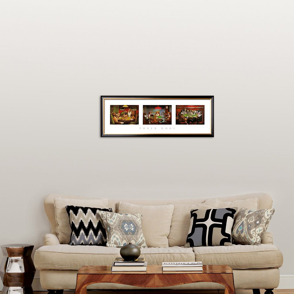 Art.com Poker Dogs Framed Art Print by Cassius Marcellus Coolidge