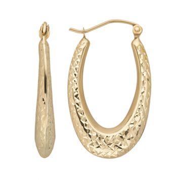 Everlasting Gold 10k Gold Textured U-Hoop Earrings