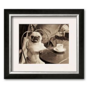 Art.com Cafe Pug Framed Art Print by Jim Dratfield