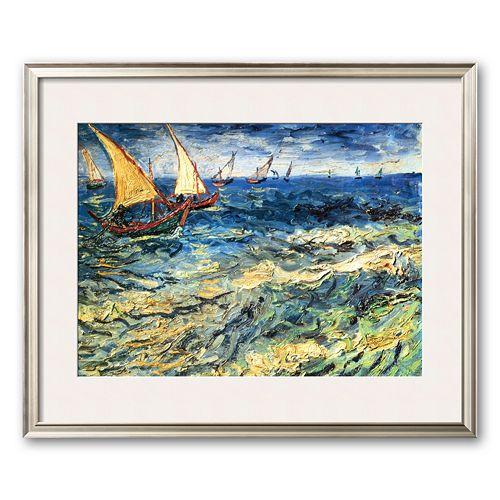 Art.com Seascape at Saintes-Maries, c.1888 Framed Art Print by Vincent van Gogh
