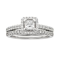 IGL Certified Diamond Frame Engagement Ring Set in 14k White Gold (1 ctT.W.)