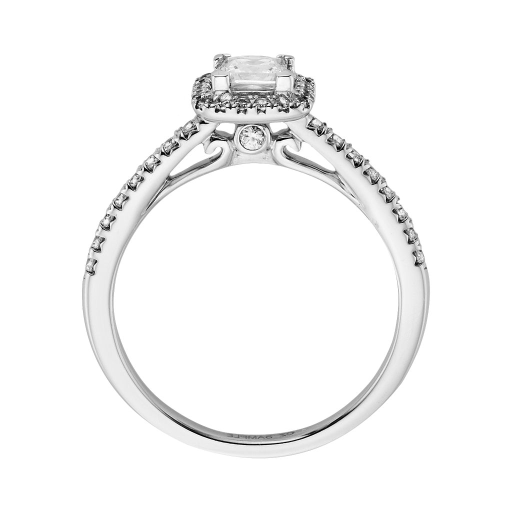 IGL Certified Diamond Frame Engagement Ring Set in 14k White Gold (1 ct. T.W.)