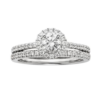IGL Certified Diamond Engagement Ring Set in 14k White Gold (1 ct. T.W.)