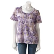 Gloria Vanderbilt Floral Mock-Layer Top