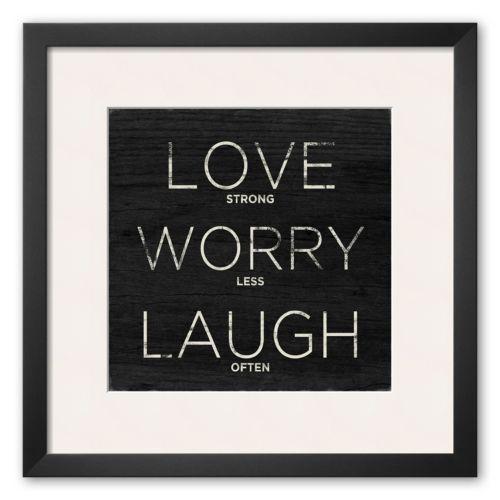 Art.com Love, Worry, Laugh Framed Art Print