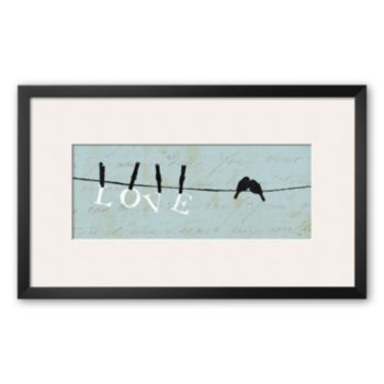 Art.com Birds on a Wire - Love Framed Art Print by Alain Pelletier