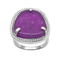 Silver Plated Purple Jade Ring