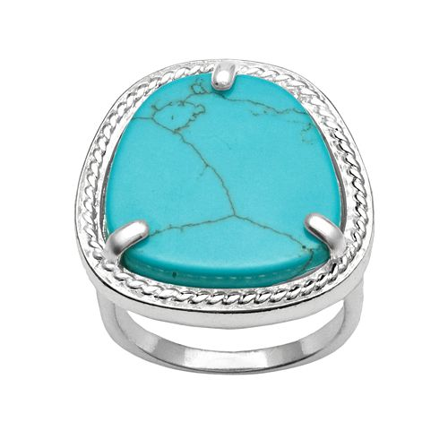 Silver Plated Simulated Turquoise Ring