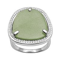 Silver Plated Green Aventurine Ring