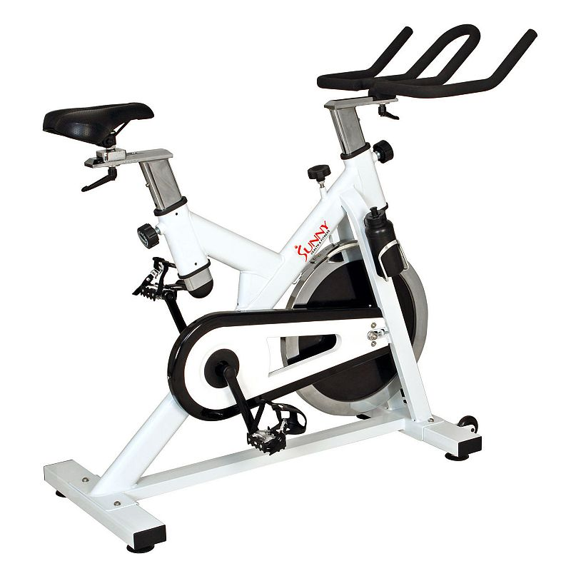 Sunny Health and Fitness Indoor Cycling Bike, White A heavy-duty, 44-pound flywheel and chain drive mechanism on this Sunny Health & Fitness cycling bike provide you with smooth, quiet workouts. Watch the product video here. Adjustable resistance, handlebars and seat offer customization. Wheels provide portability. Heavy-duty crank and steel frame ensure stability and sturdiness. PRODUCT CARE Wipe clean Manufacturer's 90-day limited warrantyFor warranty information please click here 47 1/2 H x 20 1/2 W x 46 1/2 D 250-lb. capacity Assembly required Model no. SF-B1110  Size: One Size. Color: White. Gender: unisex. Age Group: adult.