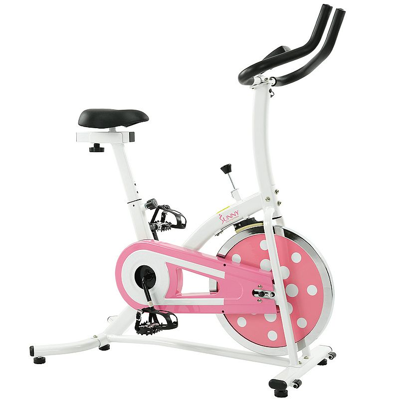 Sunny Health & Fitness Pink Indoor Cycling Bike (P8100) Put the pedal to the metal with this Sunny Health & Fitness indoor cycling bike. Watch the product video here. Adjustable, padded seat provides comfortable convenience. Adjustable magnetic resistance lends versatility. LCD displays speed, distance, ODO, calories and more. Flywheel and chain drive provide a smooth, quiet ride. Foot straps ensure safety. PRODUCT CARE Manufacturer's 90-day limited warrantyFor warranty information please click here 45.5 H x 26 W x 57 D Supports up to 240 lbs. Assembly required Model no. P8100  Size: One Size. Color: Pink. Gender: unisex. Age Group: adult.