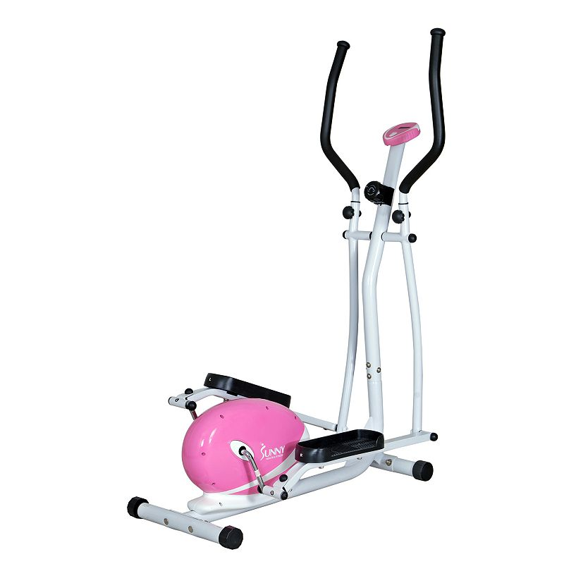 Sunny Health & Fitness Magnetic Elliptical Trainer (P8300), Pink Get a full-body workout with this Sunny Health & Fitness elliptical. Watch the product video here. LCD displays speed, distance, ODO, calories and more. Adjustable magnetic resistance offers a versatile workout. Smooth transition helps prevent joint pain and pressure. Oversized, anti-slip platforms provide a stable base. 8 levels of resistance PRODUCT CARE Manufacturer's 90-day limited warrantyFor warranty information please click here 62 H x 26 W x 51 D Supports up to 220 lbs. Assembly required Model no. P8300  Size: One Size. Color: Pink. Gender: unisex. Age Group: adult.