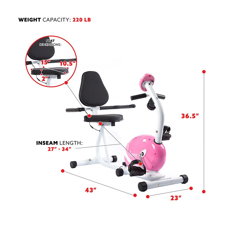 Sunny Health & Fitness Pink Magnetic Recumbent Bike (P8400)